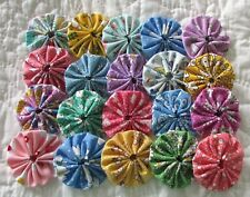 30 2 inch Fabric Yo Yos in Shades of pastel reproduction fabric