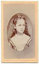 CDV 1860's Beautiful Young Victorian Girl Long Wavy Hair Ribbon Reals Mexico NY
