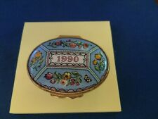 "Enamel Halcyon Days 1990 ""a year to remember"" Floral Trinket Box"