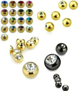 5x Spare Ball Replacement Part  Bead Balls Screw On Gold Black  Body Jewelry UK