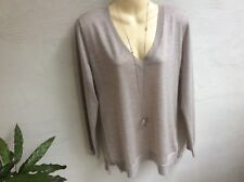 Maison Cashmere taupe 100% Cachemire Col V Pull Taille XL (UK12)
