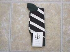Happy Socks Men's Combed Cotton Socks - Multi-Color Stripe Pattern Blk/Wh