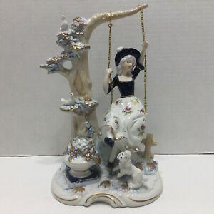 Vintage KPM Figurine Girl On A Swing