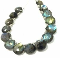 Natural Blue Flashy Labradorite Faceted Heart Shape Briolettes Loose Beads