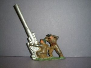 BARCLAY, MANOIL, GREY IRON  LEAD TOY SOLDIER  2 SOLDIER CREW AT AA GUN  (B223) !