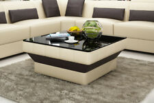 Design Glastisch Leder Couch Tisch Tische Glas Sofa Wohnzimmertische  CT9008be