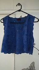 Gorgeous Aztec Rose Blue Embroidered Cutwork Vest Size 10 As New Unworn