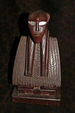 "Rare & Outstanding Palau Sculpture, Figure Draped over Bai Ceremonial House 13""h"