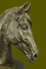 LARGE VINTAGE BRONZE EQUESTRIAN HORSE BUST OLD HUNT RACE CLUB STATUE SCULPTURE