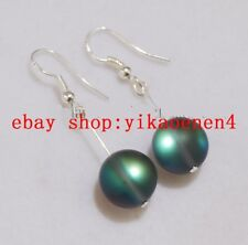 Natural Chariming 10mm Gray Gleamy Rainbow Moonstone Round Beads Earrings