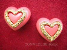 """B.O. """"Coeur"""" Résine Rose 60's Amour Cupidon True Love - Bijoux pur Vintage"""