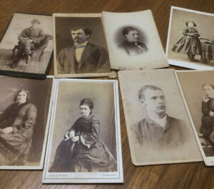 Group of 9 Old Small Cabinet Photographs - Mixed - Great Graphics on Backs