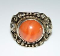 VTG .925 Sterling Silver Orange Agate Cabochon Tribal Ring Size 11.5  12 grams