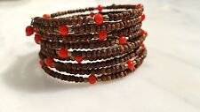 Wooden Beaded Coil Bracelet With Red Glass Bead Stations