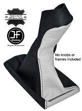 BLACK & WHITE LEATHER MANUAL GEAR KNOB GAITER COVER FITS MERCEDES E CLASS W211