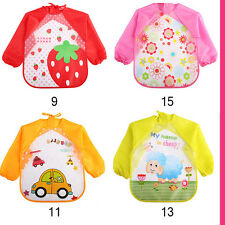 Soft Cute Cartoon Baby Bibs Long Sleeve Apron Animal Smock Feeding Eat Toddler