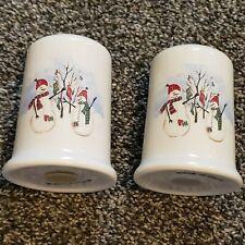 Royal Seasons Stoneware Snowmen Red Hats Salt Pepper Shaker Set Replacement