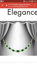 GREEN AGATE/DIAMOND NECKLACE, 18K GOLD OVER 925 STERLING SILVER, NEW