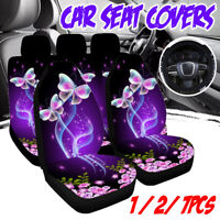 Universal Car Seat Covers Purple Butterfly Front & Rear Seat Cover