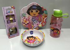 DORA THE EXPLORER KIDS MELAMINE DINNER PLATE / BOWL / CUTLERY / DRINK BOTTLE