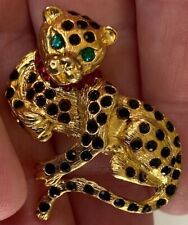 RARE PANTHERE STYLE LEOPARD STERLING SILVER BROOCH 9CT GOLD PLATED