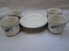 Lot of 4 Lenox China Poppies on Blue Coffee Tea Cups & Saucers Sets, EUC, Free S