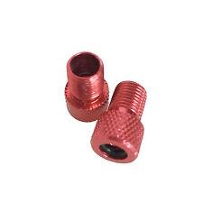 2x Red Alloy Pump Adaptor - Converts Presta To Schrader Valve