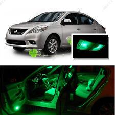 For Nissan Versa 2007-2012 Green LED Interior Kit + Green License Light LED
