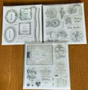 CTMH Flower Stamp Sets, Grow, Bloom, Frames, Borders Bundle, Stamp of the Month