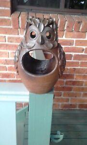 Ornamental owl hanging garden pot. Glazed terracotta.
