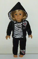 Track Suit Hoodie Sweats Zebra Heart Outfit Fits 18' American Girl Doll Clothes