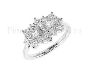 1.00carat Baguette & Round Diamonds Boat Cluster Ring in 18k White & Yellow Gold