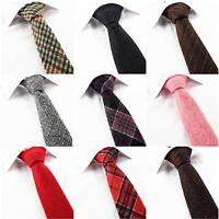 Men's Check Wool Tie Tweed Plaid Stripe Skinny Brown Grey Red Black Pink Necktie