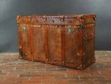 Vintage English Handmade Tan Leather Vintage Inspired Coffee Table Trunk CN12