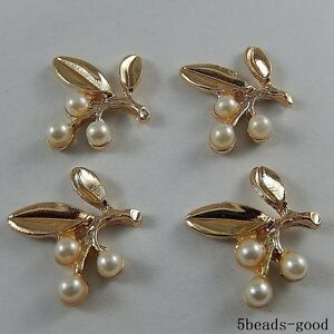 11 pcs ABS Pearls Beaded Gold Leaf Charm Pendant Jewelry Making Craft Findings