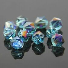 12 Pcs Swaro-element  6mm split facet Crystal beads E Sky blue+Purple plated