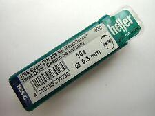 0,3 mm Micro qualità HELLER tedesco HSS-G SUPER Jobber Drill Bit x 10 DIN 338 RN