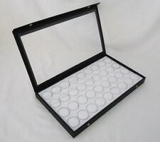CLEAR TOP JEWELRY DISPLAY CASE WITH 36 MEDIUM SIZE GEM JARS WHITE