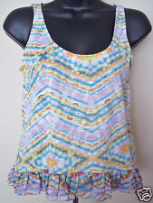 OLSENBOYE Ruffled Hem Double Key-Hole Back Baggy Tank Top Multi Color Jr SMALL
