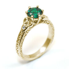 Trinity Knot Ring Emerald and Diamond 6 Claw 9ct Gold UK Hallmarked  SS286