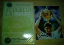 More details for wimbledon tennis final 1991 programme + signed photo michael stich coa + tickets