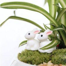 4Pcs Mini Garden Decor Rabbit Ornament Miniature Figurine Plant Pot Fairy