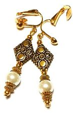 Long Gold Ivory Pearl Clip-On Earrings Drop Dangle Glass Bead Classy