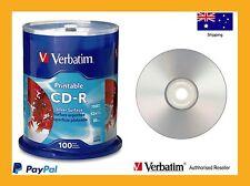 Genuine Verbatim Blank CD Silver Inkjet CD-R 700MB 80M Spindle 100 P/N 95144