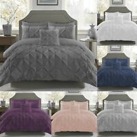 200TC Pinch Pleated Pintuck Duvet Cover Set 100%Egyptian Cotton Bedding All Size
