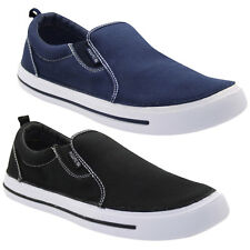 Mens Slip On UK Comfy Loafers Canvas Plimsoll Pumps Skate Casual Deck Shoes