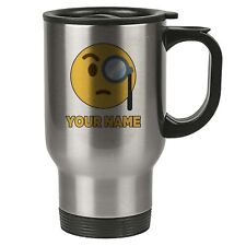Personalised Face Emoji Silver Travel Mug - Rich 1 - Monicle - Add Your Name - R
