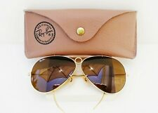 Vintage B&L Ray Ban USA Aviator Outdoorsman Shooter  Brown Lenses  62 14 w/ Case