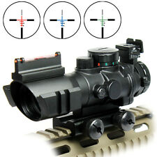 Outdoor 4x32 Tactical Rifle Scope Red/Green/Blue Illuminated Chevron Reticle