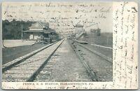 ELIZABETHTOWN PA RAILROAD STATION 1906 ANTIQUE POSTCARD train railway depot